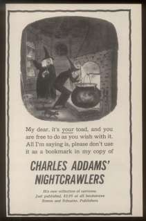 1957 Charles Addams witch & cauldron cartoon Nightcrawlers book promo