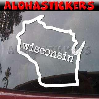 WISCONSIN STATE OUTLINE Vinyl Decal Window Sticker Q77
