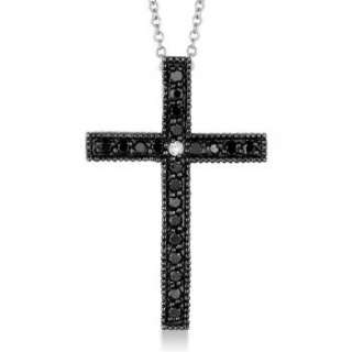 33ct Black & White Diamond Cross Pendant Necklace 14k White Gold