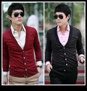 Mens Casual Stylish V Neck Basic Cardigan Sweater 2Color