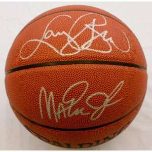 Larry Bird & Magic Johnson Autographed Basketball   SM