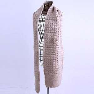 New Best Adorable Beige Wool Blends 4x2 Rib Knitted Sweater, Muffler