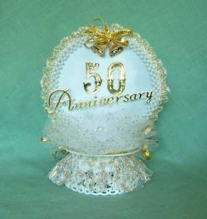 50th Wedding Anniversary Cake Top Gold/Pearl Round Arch
