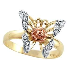 CZ Butterfly Rose Ring 14k Yellow Gold Band Cubic Zirconia