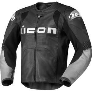 Icon Overlord Prime Mens Leather Sportsbike Motorcycle Jacket   Black