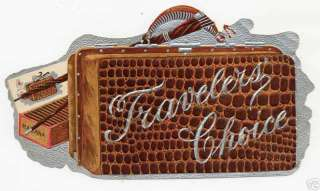 1900 Die Cut Cigar Label Travelers Choice w/ Suitcase