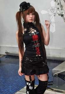 Jrock Visual Kei Skull Cyber Punk Safety Pins Rockabilly Red Lining