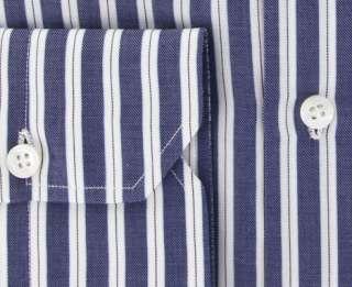 New $425 Finamore Napoli Navy Blue Shirt 16.5/42