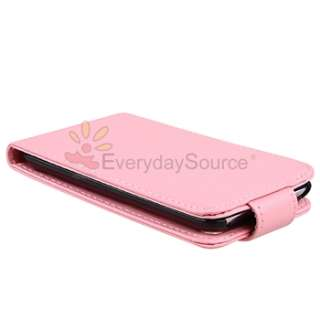Pink PREMIUM LEATHER HARD CASE COVER+LCD Film FOR APPLE IPOD TOUCH 4G