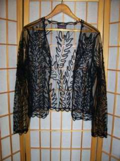 Marina Brester JET BLACK PEEK A BOO LACE BEADED SEQUIN OPEN CARDIGAN
