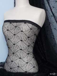 Black Spider Web Net / Lace Fabric Material