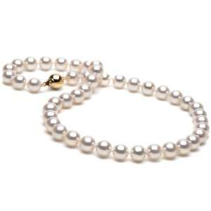 White Akoya Pearl Necklace, White Gold, AA+ Quality