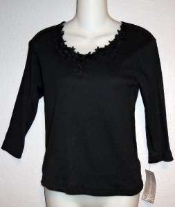 Allyson Whitmore Petite Embellished Black Pullover Vee Neck Top Size