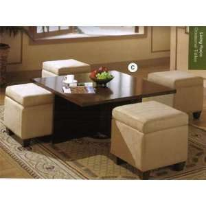 Coaster Contemporary Coffee Table with 4 Storage Ottomans