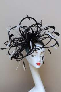 New Large Black & white feather Fascinator Hat wedding