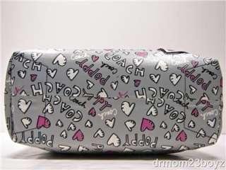 New Coach Poppy Graffiti Gray & Pink Coated Canvas Signature Tote