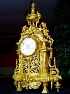 XXXL GREAT ANTIQUE FRENCH BRONZE PALACE CLOCK LOUIS XVI c.1880