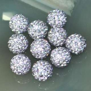 8mm Round Ball Pave Crystal Rhinestone Loose Spacer Beads Jewelry DIY