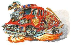 Firetruck 911 Hot Rod Muscle Car Cartoon Tshirt FREE