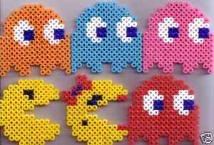 PAC MAN AND GHOSTS BEAD SPRITE GAME PERLER ART SET OF 6