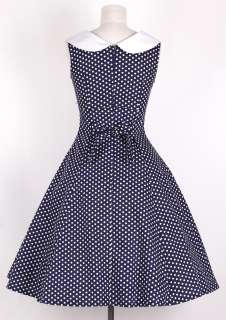 50s Vintage Size L WhiteDot/Navy Blue Sailor Dress Polka Dot