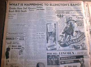 1951 African American newspaper w DUKE ELLINGTON JAZZ BAND banner
