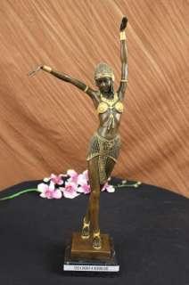 20 TALL ART DECO BALANCED DANCER SIGNED CHIPARUS BRONZE SCULPTURE