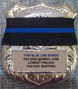 POLICE BADGE THIN BLUE LINE MOURNING BAND, LOT OF 5 PCS