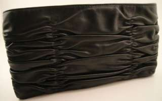 NEW Michael Kors Webster Wallet Clutch BLACK Leather Ruched Handbag