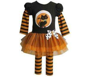 Jean Baby Girls Halloween Cat on the Moon Dress Outfit w/ Legging 24M