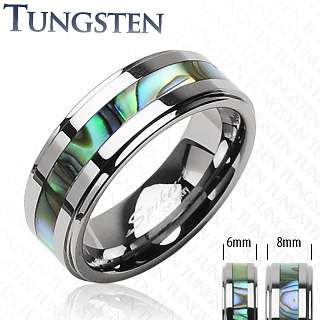 Tungsten Carbide Ring W/ Abalone Inlay Mens Or Ladys Band Ring Sz5
