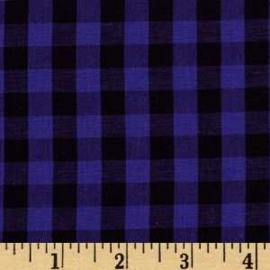 50 Wide Stretch Woven Cotton Shirting Check Blue/Black Fabric