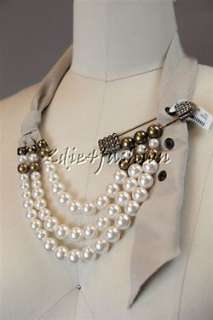 693 New LANVIN Beaded Pearl Rhinestone Safety Pin Beige Ribbon