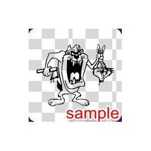 CARTOON EVIL TAZ WHITE VINYL DECAL STICKER: Everything