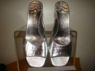 Taryn By Taryn Rose Silver Croc Wedge Sandals Shoes 7.5