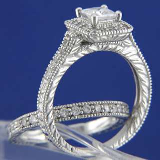 Sterling Silver Women Engagement Wedding Bridal Band Ring Set