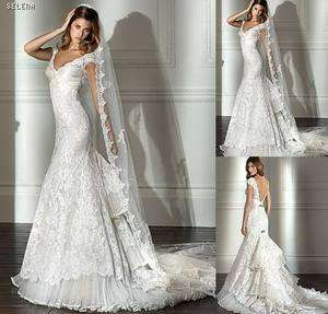 white lace short sleeve bridal Wedding Dress prom/party Gown V neck