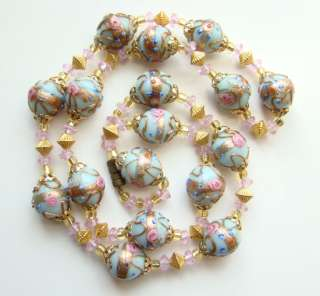 C1920 Venetian Lampwork Wedding Cake Glass Bead Necklace Blue Pink