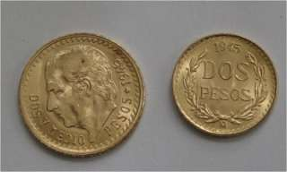 MEXICO GOLD COIN 2 , 2 1/2 PESOS, 1945 BU CONDITION