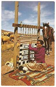 American Indian NAVAJO RUG WEAVER Loom SHEEP Horse 1960s Photo PC