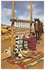 American Indian NAVAJO RUG WEAVER Loom SHEEP Horse 1960s Photo PC