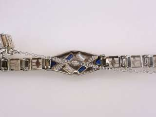 Antique Deco Genuine Diamond Sapphire .50ct 14K White Gold Tennis