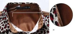 New Mens Fashion Hot Cool Leopard Stylish Long Sleeve Casual Dress