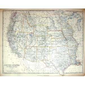 Antique Map United States North America Texas Arizona California