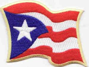 Puerto Rico Waving Flag Embroidered Biker Vest Patch