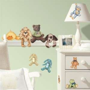 23 New BABY ANIMALS WALL STICKERS Stuffed Animal Decals Boys Girls