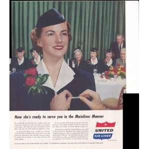 United Airlines Mainliner Manner Stewardess 1953 Original