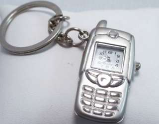Stainless Steel CELL PHONE Key Chain Pocket Watch NWT