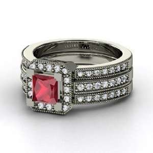 Va Voom Ring, Princess Ruby 14K White Gold Ring with