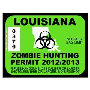 Louisiana Zombie Hunting Permit 2012 (Bumper Sticker